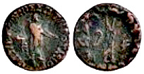 Copper coins of Apollodotus 1, whose empire stretched from Taxila in the north (Pakistan Punjab) to Sindh and Gujarat in the south.