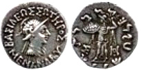 Silver coins minted during the reign of Menander 1, whose empire is believed to have stretched from Bactria (northern Afghanistan) to Pataliputra (Patna).